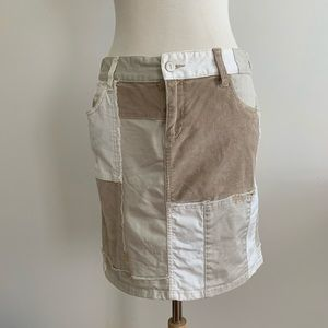 Anthropologie Patchwork tan cotton Skirt size 27